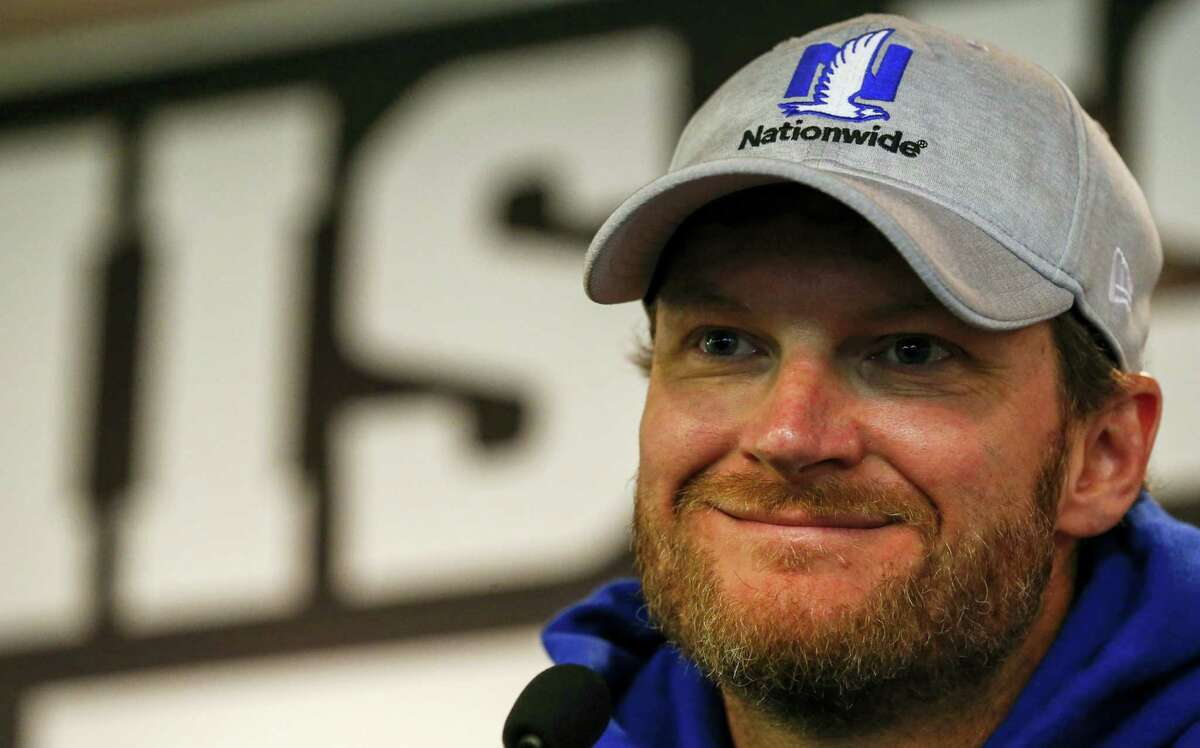 Dale Earnhardt Jr. speaks at a news conference at Talladega Superspeedway, Friday in Talladega, Ala.
