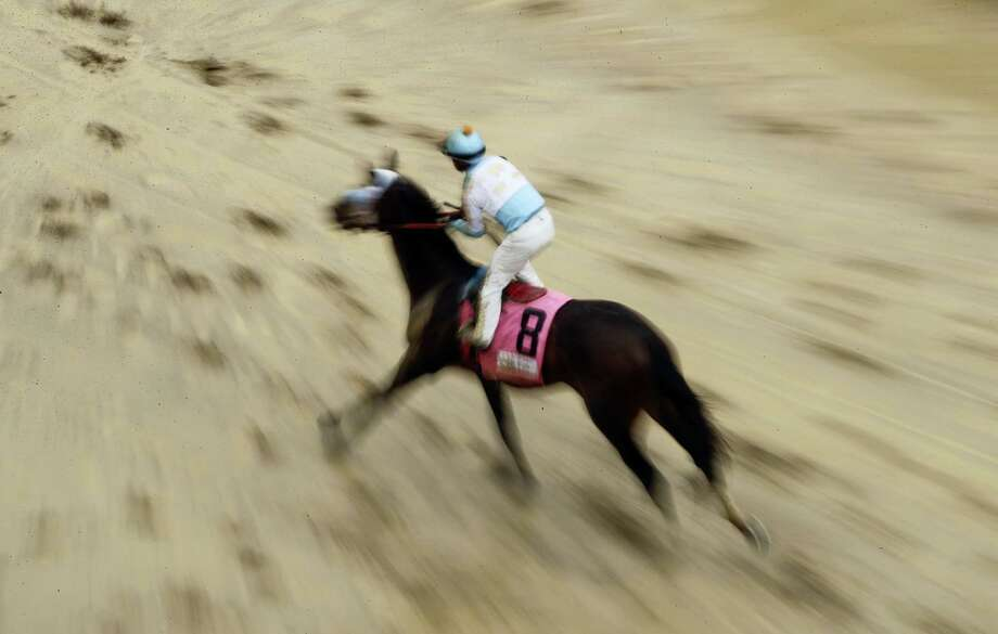 A horse runs in the mud after a race before the 143rd running of the Kentucky Derby horse race at Churchill Downs Saturday, May 6, 2017, in Louisville, Ky. Photo: AP Photo/Charlie Riedel   / Copyright 2017 The Associated Press. All rights reserved.