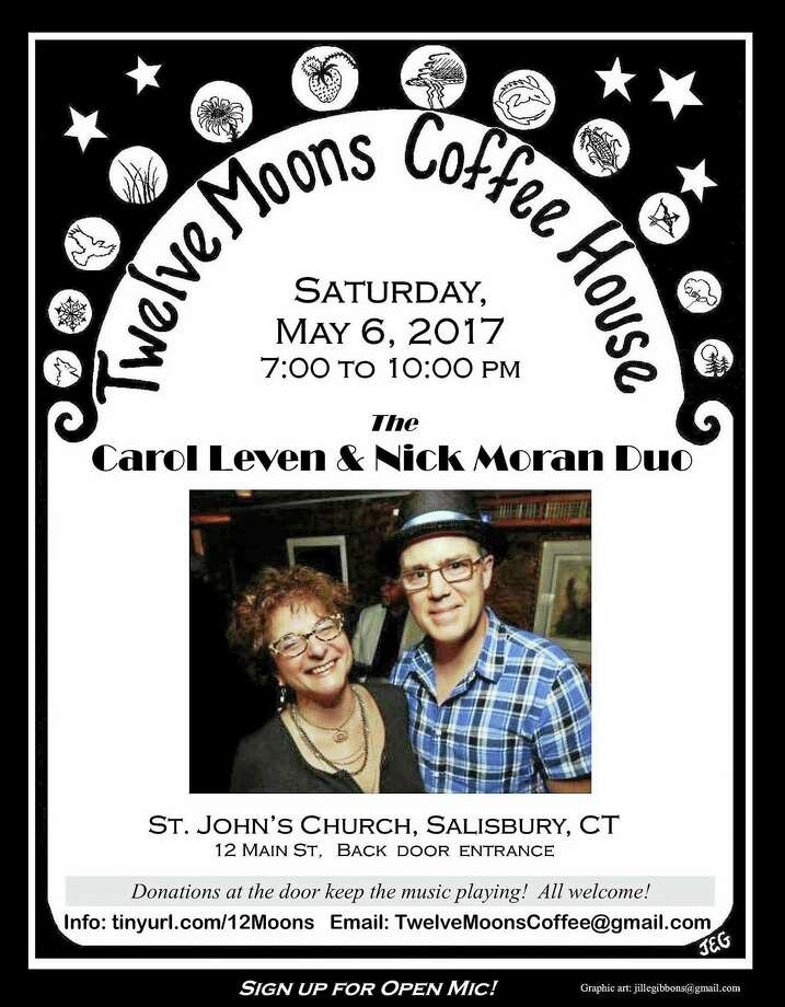 Contributed photoThe Carol Levin & Nick Moran Duo will perform May 6 at Twelve Moons Coffee House. Photo: Digital First Media