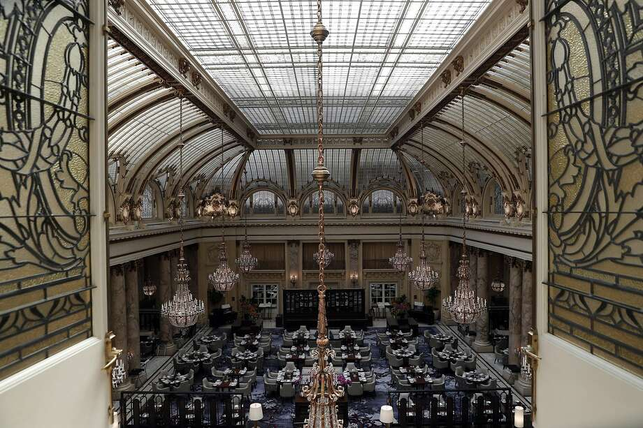 The roof of the Palace Hotel's Garden Court has not been refurbished since shortly after the 1989 quake. Photo: Carlos Avila Gonzalez, The Chronicle