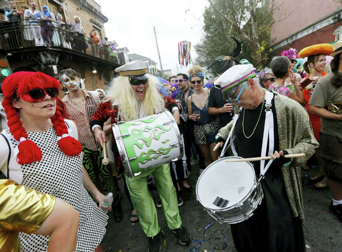 Revelers play music at the start of the Society of Saint Anne Mardi Gras parade in New Orleans on Feb. 28, 2017.
