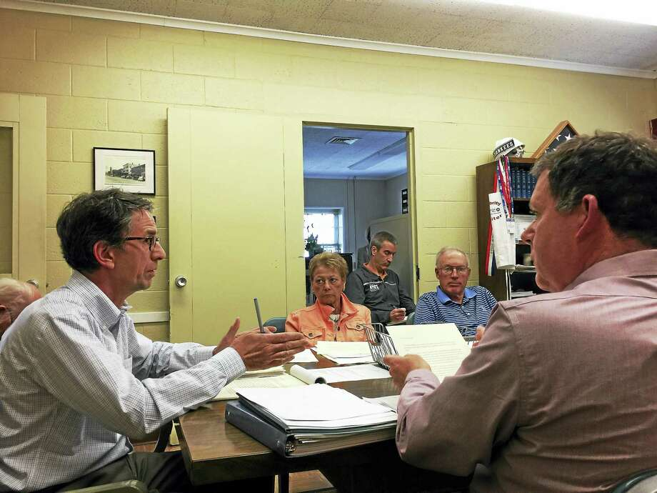 Fran Carpentier speaks with the Litchfield Board of Selectmen. Photo: Ben Lambert — The Register Citizen