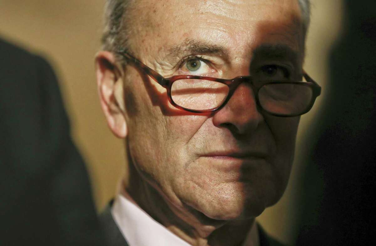 Senate Minority Leader Charles Schumer of N.Y. listens to reporters questions during a media availability on May 2, 2017 on Capitol Hill in Washington.