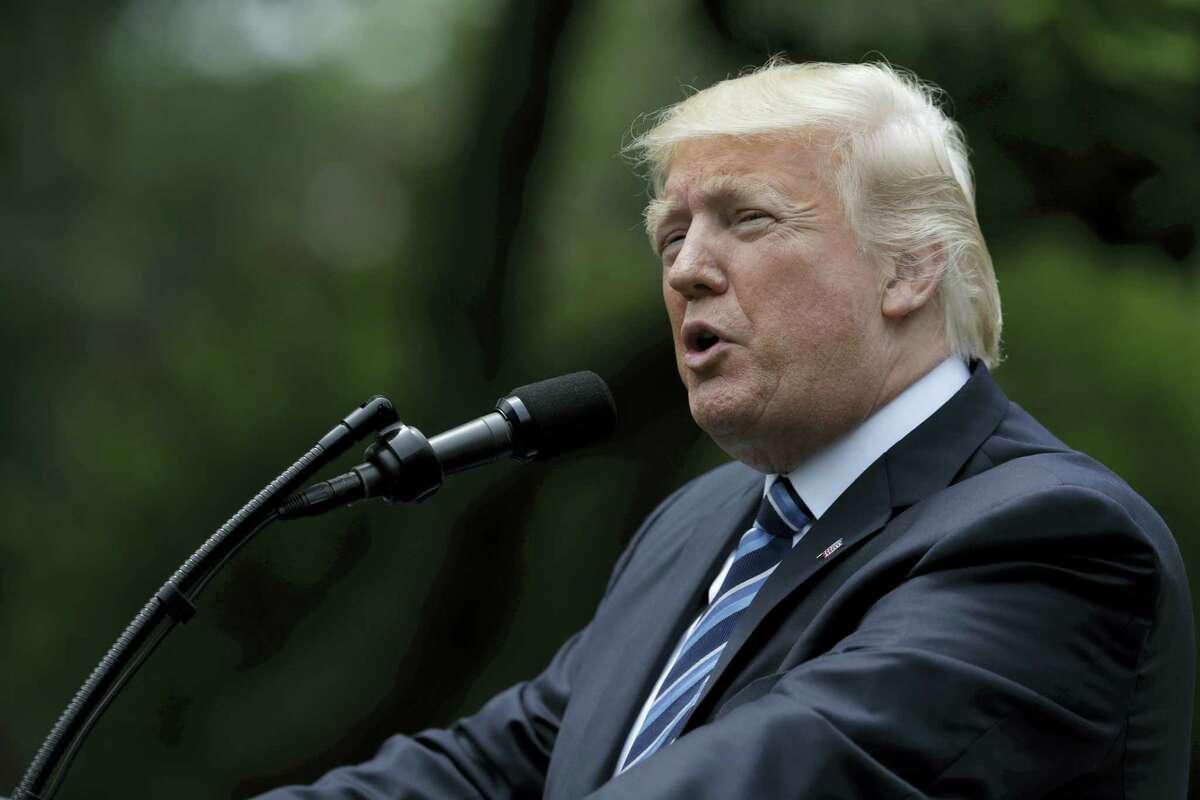 President Donald Trump speaks in the Rose Garden of the White House in Washington, Thursday, May 4, 2017.