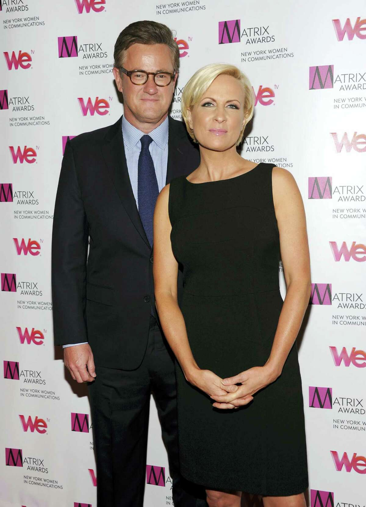 """In this April 22, 2013 photo, MSNBC's """"Morning Joe"""" co-hosts Joe Scarborough and Mika Brzezinski, right, attend the 2013 Matrix New York Women in Communications Awards at the Waldorf-Astoria Hotel in New York. MSNBC confirmed May 4, 2017 that the """"Morning Joe"""" co-hosts are engaged."""