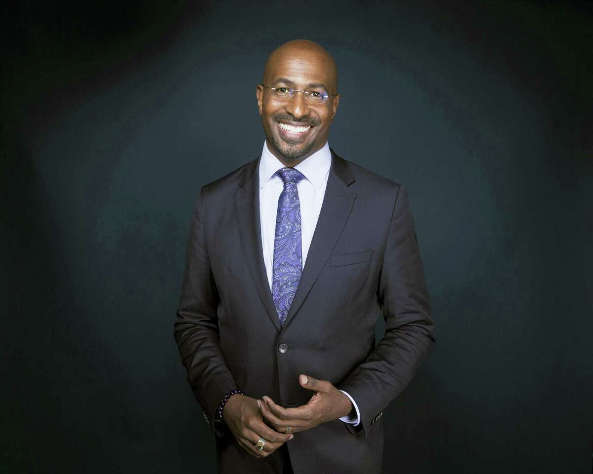 """In this April 28, 2017 photo, Van Jones, host of """"The Messy Truth with Van Jones"""" appears after an interview in New York. Jones is hoping to bolster his activist work by pairing with Jay Z's management firm Roc Nation. The pundit announced the affiliation Thursday, May 4. He hopes the company's expertise in cultural influence helps his work in green initiatives, getting poor youngsters involved in the tech sector and training prison inmates in media skills."""