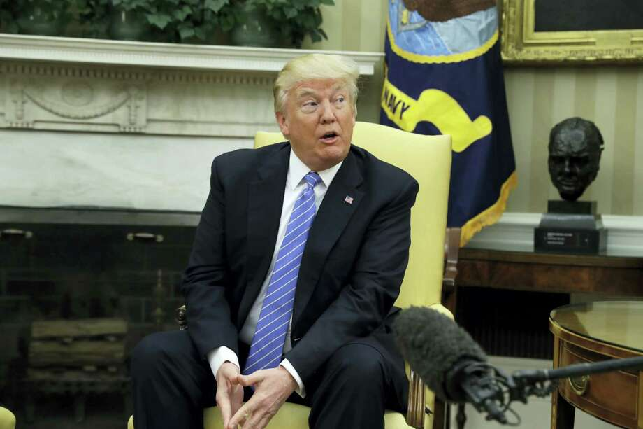 President Donald Trump speaks in the Oval Office of the White House in Washington, Wednesday, during his meeting with Palestinian leader Mahmoud Abbas. Photo: AP Photo — Evan Vucci / Copyright 2017 The Associated Press. All rights reserved.
