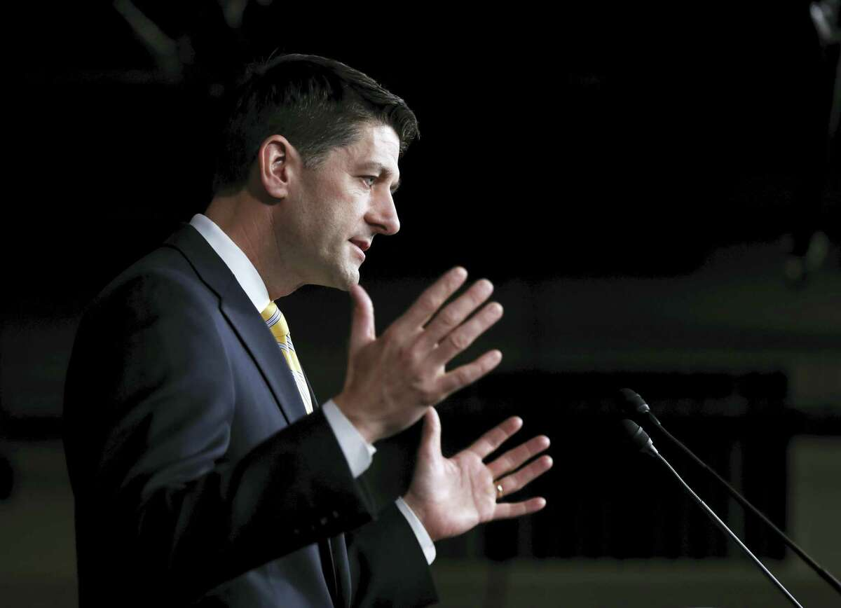 House Speaker Paul Ryan of Wis. speaks to reporters during a news conference on Capitol Hill in Washington, Thursday, April 27, 2017. (AP Photo/Manuel Balce Ceneta)