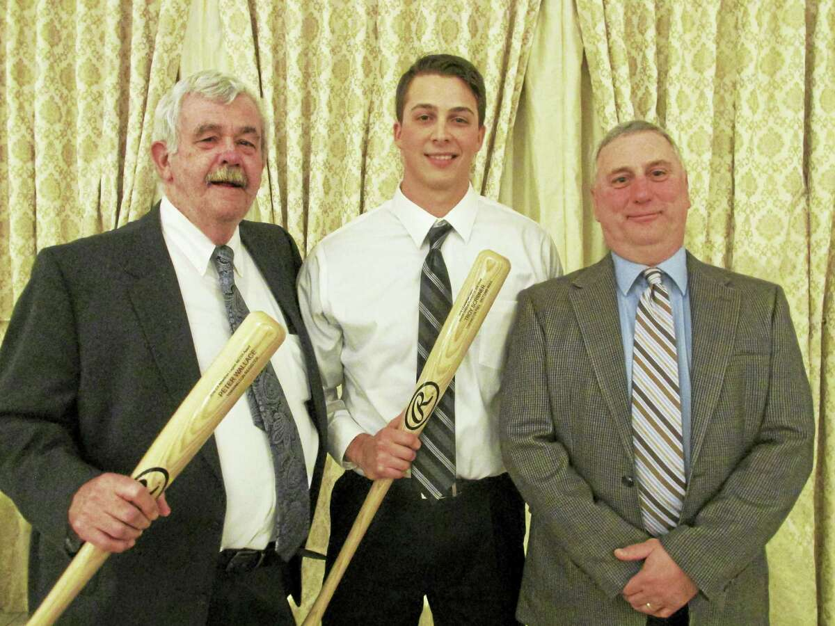 Submitted Photo Area award winners at the annual Connecticut American Legion Hot Stove Banquet Friday night stand with Torrington P38 Head Coach R.J. Poniatoski. Register Citizen sports writer Peter Wallace, left, won the Media Award. Troy Scribner, who finished the season with the Triple A Salt Lake City Bees, took home the Minor League Player of the Year Award.