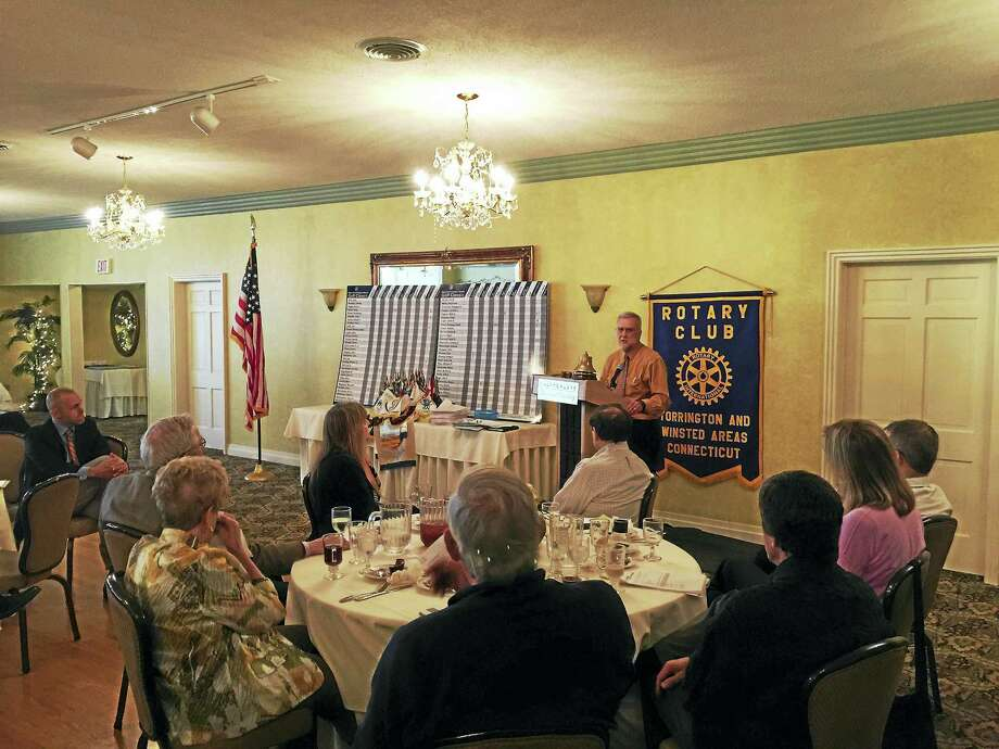 Attorney Kevin Brophy of Connecticut Legal Services detailed his career and was celebrated by the Torrington-Winsted Area Club Tuesday. Photo: Ben Lambert — The Register Citizen