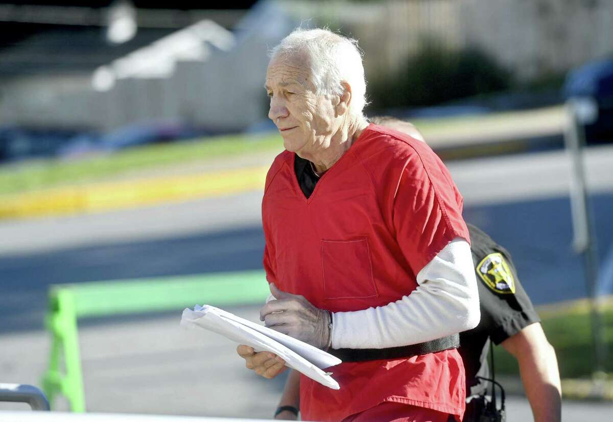 In a Monday, Aug. 22, 2016 photo, Jerry Sandusky arrives at the Centre County Courthouse, in Bellefonte, Pa. The scandal has produced new state laws regarding child abuse, millions in civil settlements to his victims and significant changes to Penn State's policies and procedures.