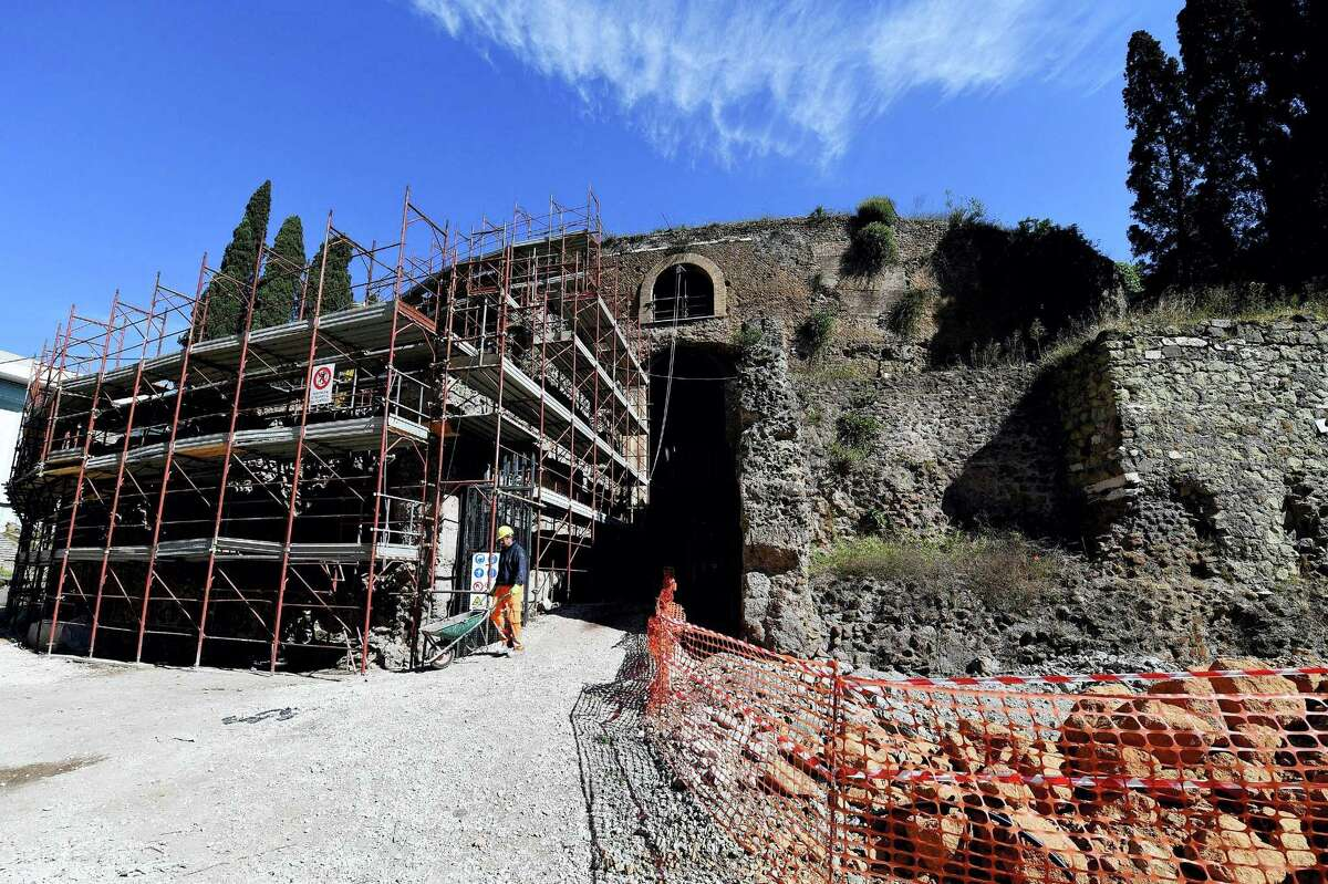 A view of the Mausoleum of Augustus in Rome during a special opening for the press, Tuesday May 2, 2017. The mausoleum of the Roman Emperor Augustus, a decrepit eyesore fenced off in the center of Rome for decades, is finally being restored in a multi-million euro project set to be completed in 2019.