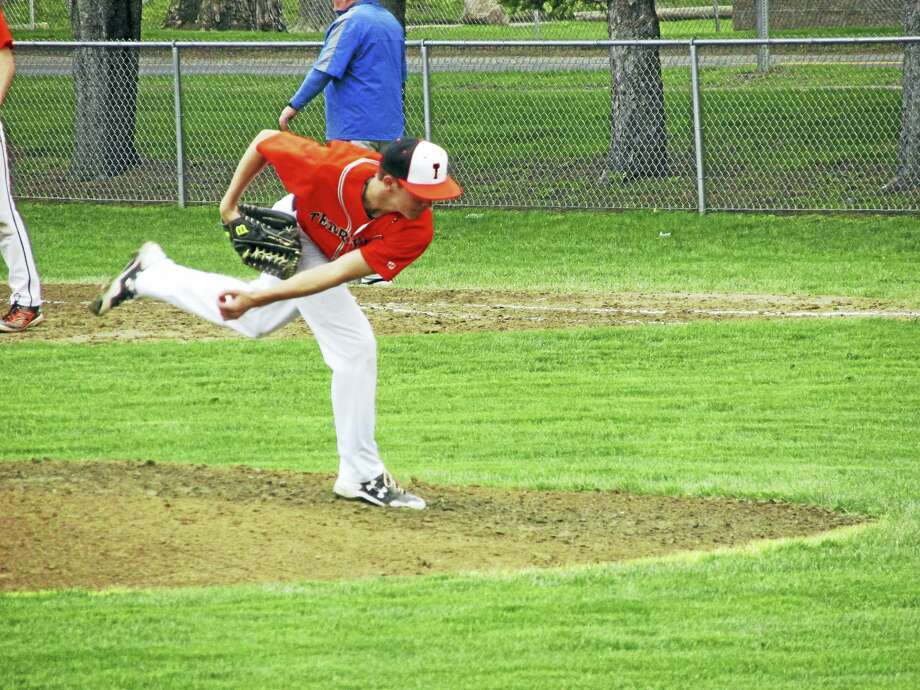 Peter Wallace - For the Register CitizenTerryville pitcher Derek Thibodeau led a defensive duel from the mound in a Kangaroo win over Gilbert Thursday afternoon at Walker Field. Photo: Digital First Media
