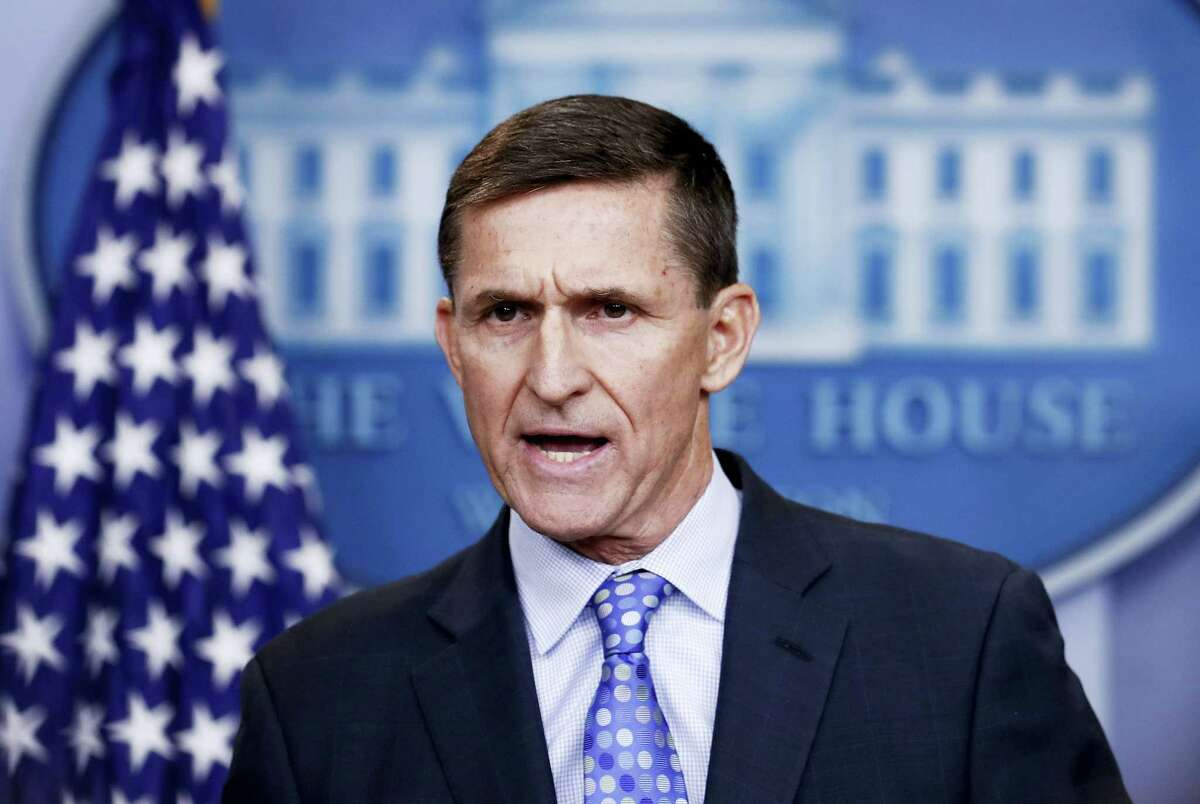 In this Feb. 1, 2017 photo, then-National Security Adviser Michael Flynn speaks during the daily news briefing at the White House, in Washington. The White House is refusing to provide lawmakers with information and documents related to President Donald Trump's first national security adviser's security clearance and payments from organizations tied to the Russian and Turkish governments.