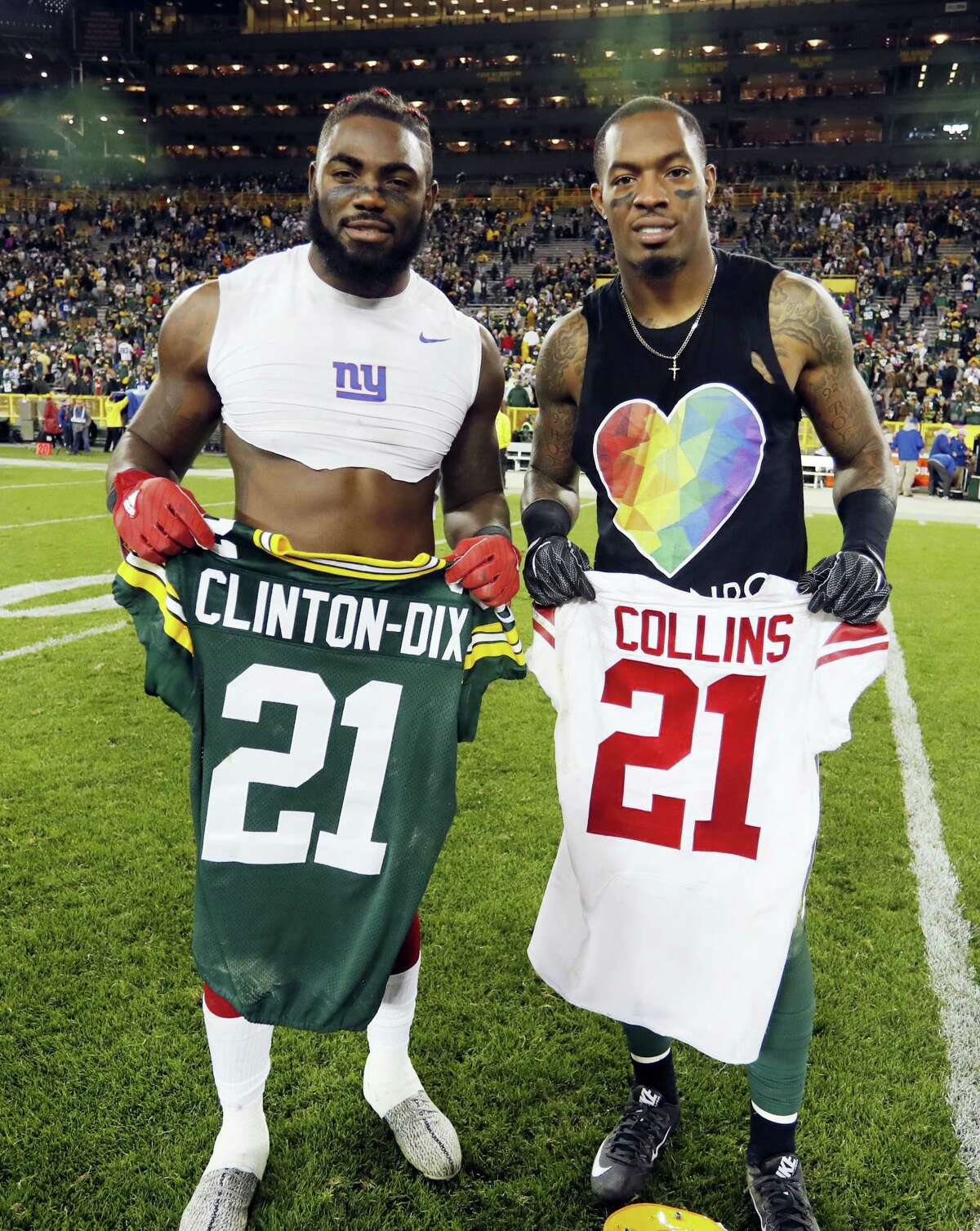 The Giants' Landon Collins, left, and the Packers' Ha Ha Clinton-Dix exchange jerseys after a game in Green Bay, Wis. The Crimson Tide-tinted friendship of Landon Collins and Ha Ha Clinton-Dix will be tested on Sunday at Lambeau Field.
