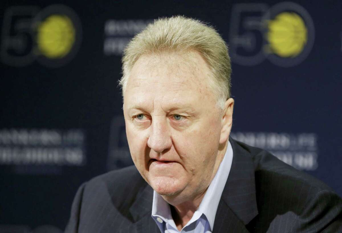 Larry Bird speaks after resigning from his position as Indiana Pacers president of basketball operations during a news conference Monday in Indianapolis.
