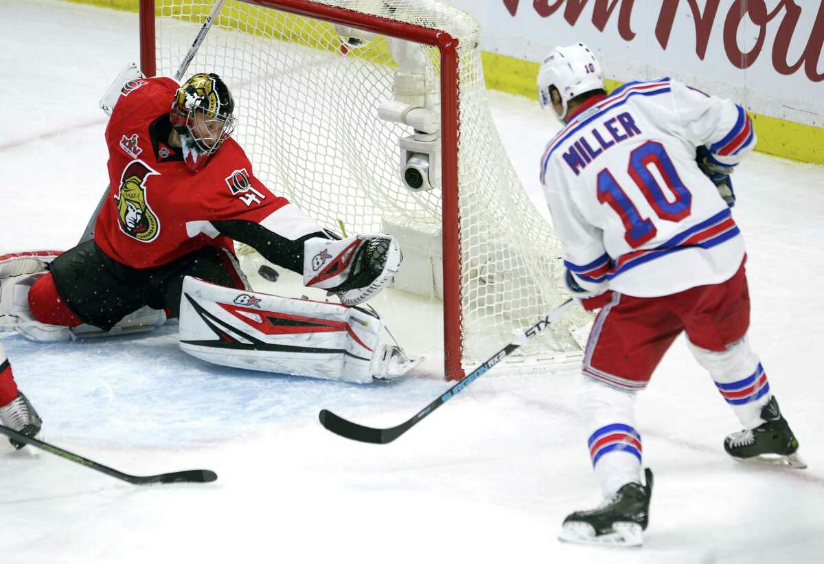 Ottawa Senators goalie Craig Anderson (41) makes a save on New York Rangers centre J.T. Miller (10) during the second period in the second-round of the NHL hockey Stanley Cup playoffs, Saturday in Ottawa.