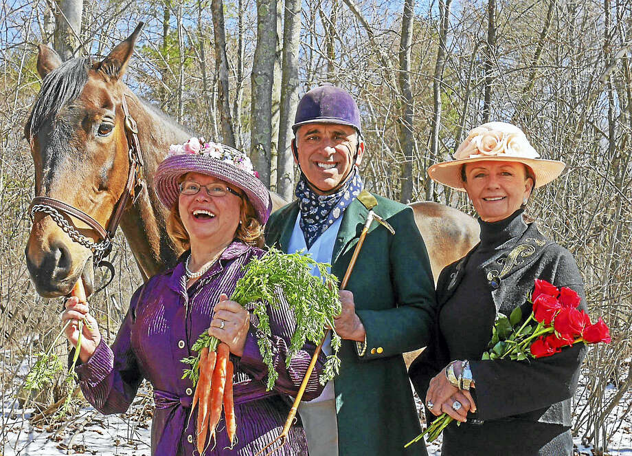 Pictured from left are: Margoux the Horse, Courtesy of Viktoria Sleeper and Terra Cello Farm; Honorary Hosts Mary and Peter Tavino; and Event Chair, Patricia Hearn. Photo: Photo By Hilary Adorno — Connecticut Junior Republic