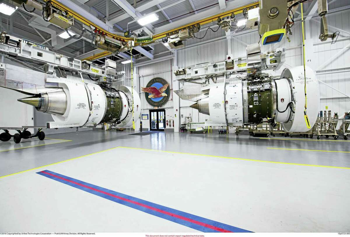 Two production PurePower Geared Turbofan engines are ready for testing at Pratt & Whitney's Middletown facility. (Photo courtesy ofPratt & Whitney)