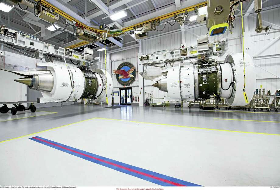 Two production PurePower Geared Turbofan engines are ready for testing at Pratt & Whitney's Middletown facility. (Photo courtesy ofPratt & Whitney) Photo: Digital First Media / ©2016 Copyrighted by United Technologies Corporation — Pratt & Whitney Division. All Rights Reserved.?