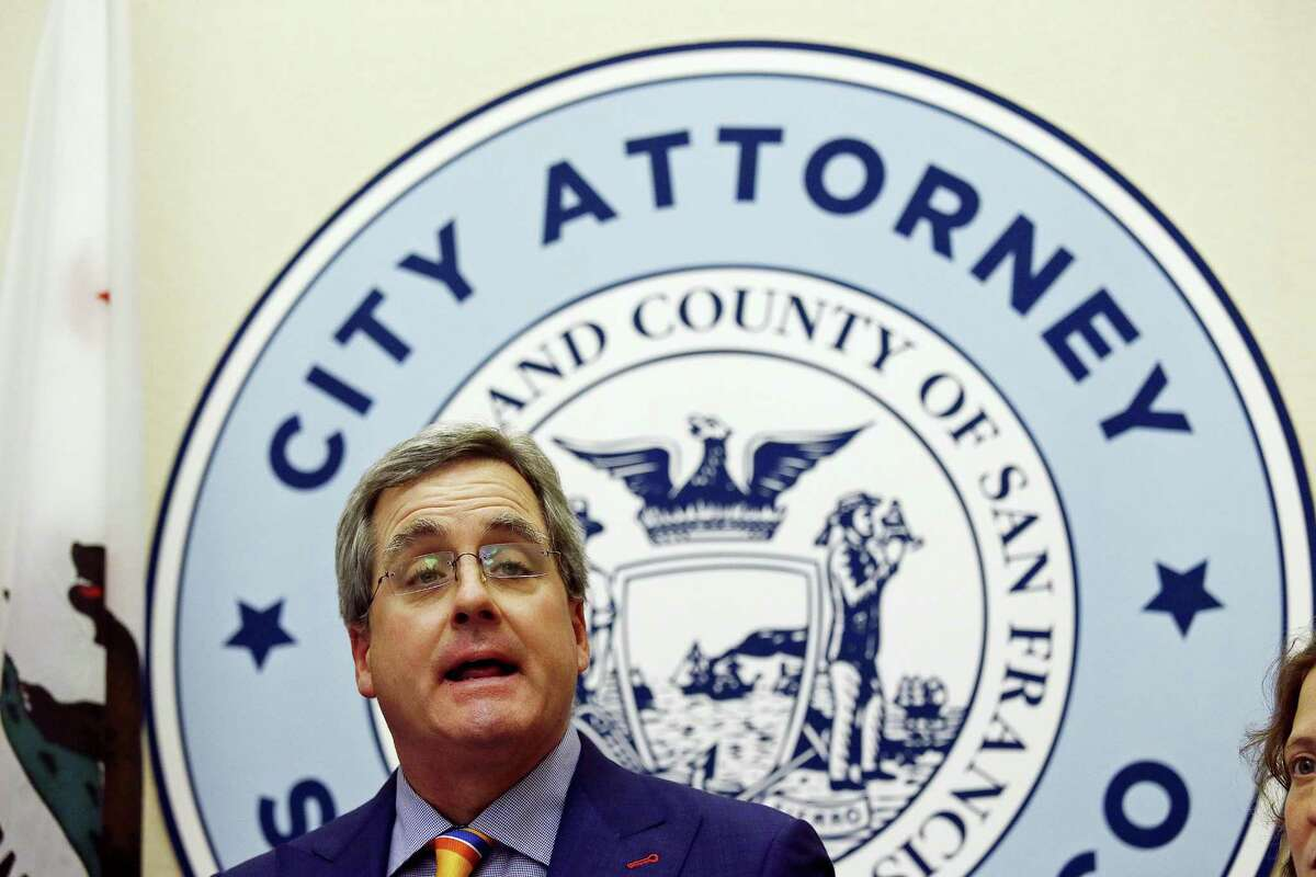 """City Attorney Dennis Herrera talks about a federal judge's order blocking any attempt by the Trump administration to withhold money from """"sanctuary cities """"during a news conference at City Hall Tuesday, April 25, 2017 in San Francisco."""