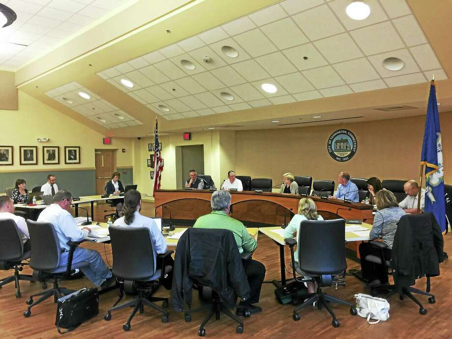 The Board of Finance and City Council discuss the proposed city budget Monday evening. Photo: Ben Lambert — The Register Citizen