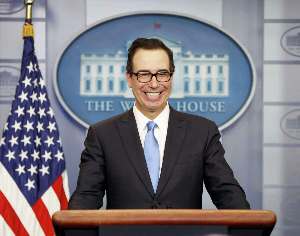 Treasury Secretary Steve Mnuchin smiles while speaking to the media during the daily briefing in the Brady Press Briefing Room of the White House in Washington, Monday, April 24, 2017.