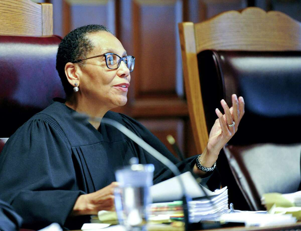In this June 1, 2016, file photo, Associate Court of Appeals Judge Sheila Abdus-Salaam speaks during oral arguments at the Court of Appeals in Albany, N.Y. Abdus-Salaam's clothed body was found in the Hudson River in April 12, 2017. Detectives retracing the pioneering judge's final hours said they have found no signs of foul play, supporting the belief it was a suicide. Her family and friends insist that theory doesn't add up.