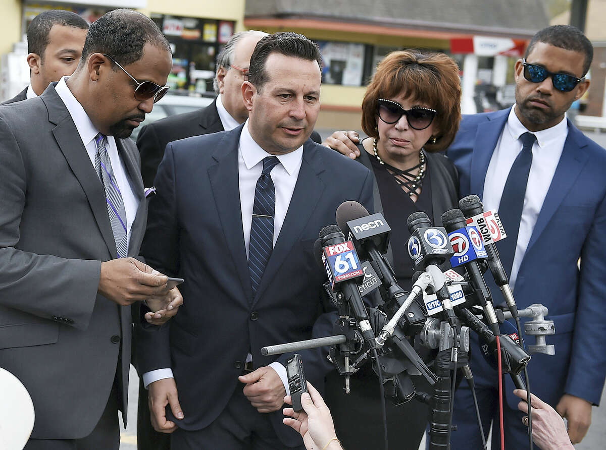 Aaron Hernandez's defense attorneys, from left, Ronald Sullivan, Jose Baez, Linda Kenney Baden and Robert Proctor speak after a private service for Hernandez at O'Brien Funeral Home, Monday, April 24, 2017, in Bristol, Conn. The former New England Patriots tight end was found hanged in his cell in a maximum-security prison on Wednesday.