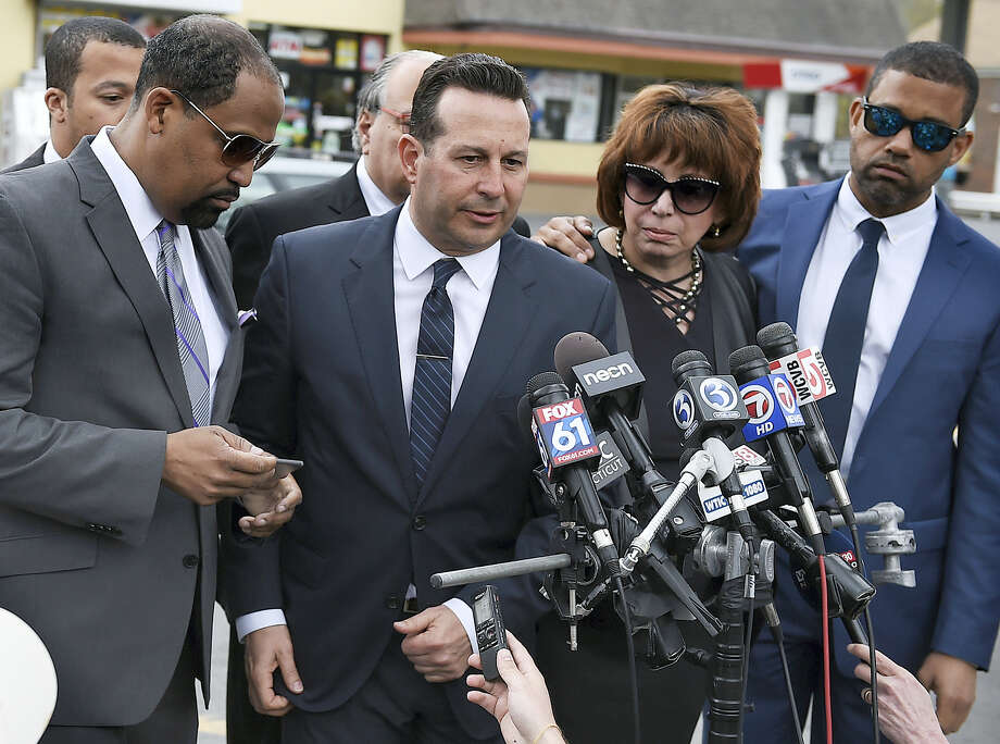 Aaron Hernandez's defense attorneys, from left, Ronald Sullivan, Jose Baez, Linda Kenney Baden and Robert Proctor speak after a private service for Hernandez at O'Brien Funeral Home, Monday, April 24, 2017, in Bristol, Conn. The former New England Patriots tight end was found hanged in his cell in a maximum-security prison on Wednesday. Photo: AP Photo/Jessica Hill   / AP2017