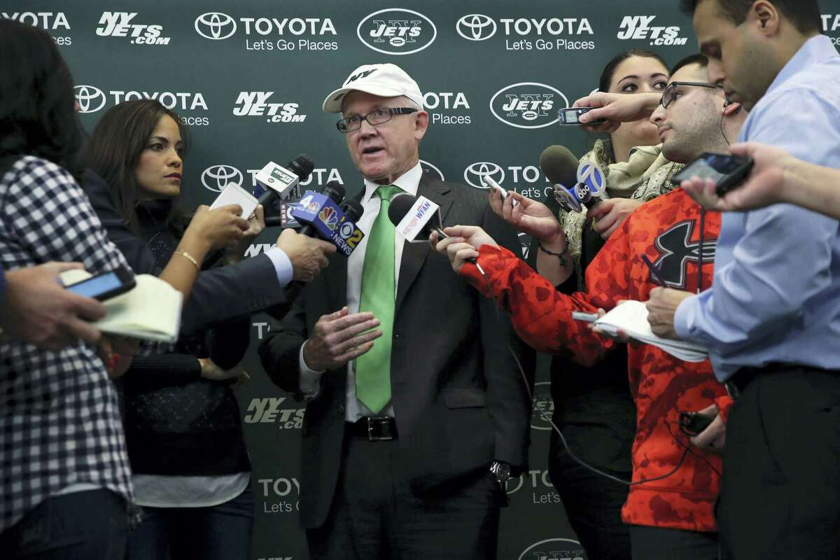 New York Jets owner Woody Johnson answers a question as he addresses the media at the team's training facility on Thursday in Florham Park, N.J.
