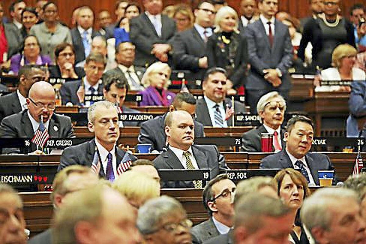 House members listen to Malloy's address.