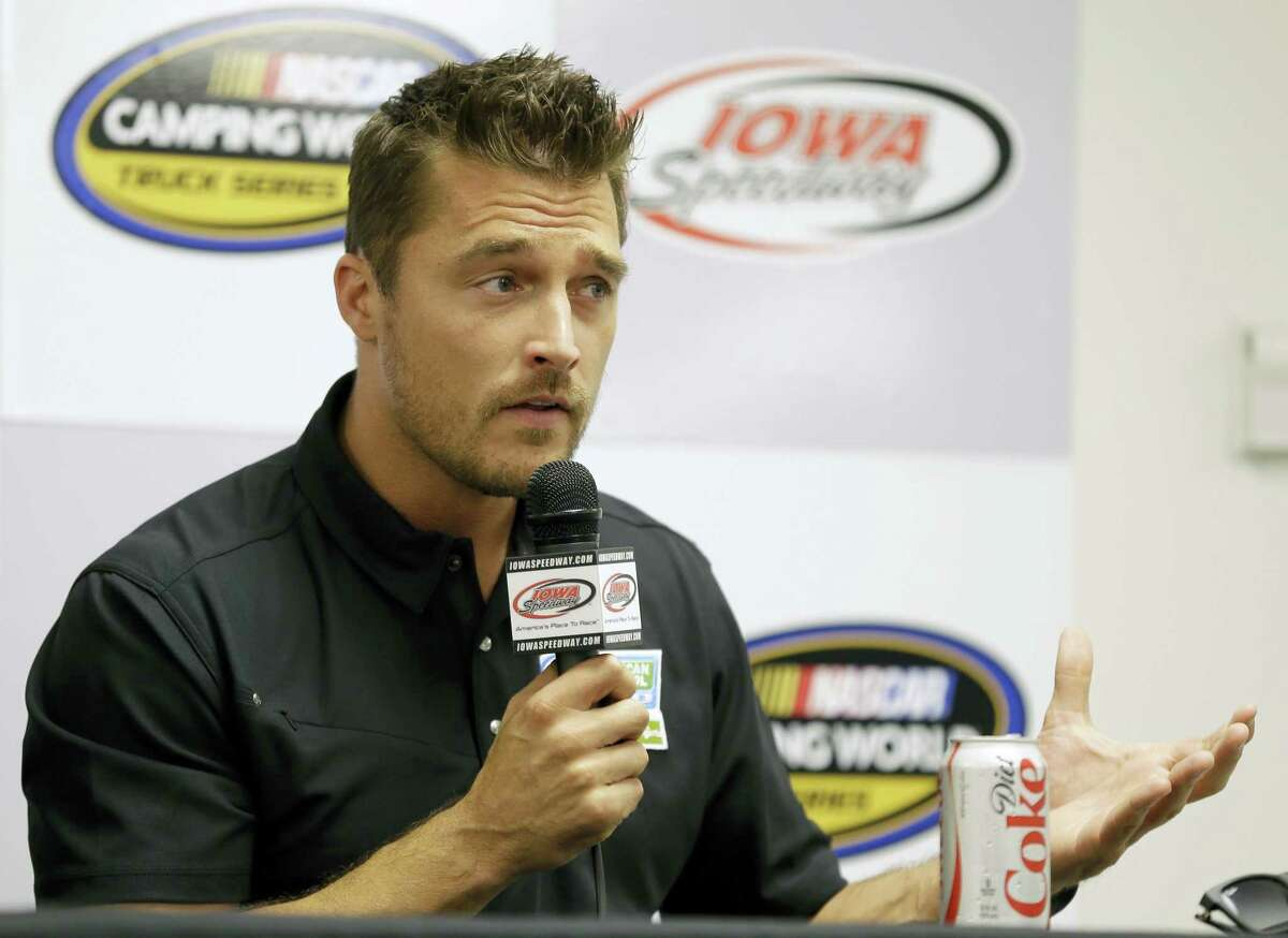 """In this June 19, 2015, file photo, Iowa farmer Chris Soules, a former star of ABC's """"The Bachelor,"""" speaks during a news conference before a NASCAR event in Newton, Iowa. Soules was booked early Tuesday, April 25, 2017, after his arrest on a charge of leaving the scene of a fatal accident near Arlington, Iowa. Police said he fled the scene of a fatal traffic accident."""