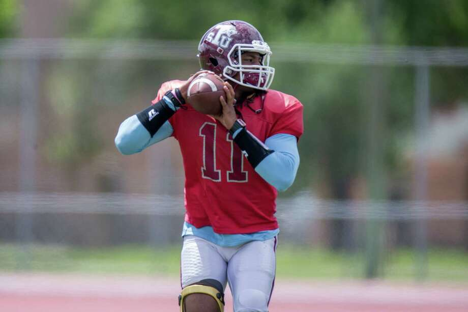 Texas Southern quarterback Jay Christophe can make plays with arm and legs alike. Photo: Juan DeLeon, FRE / Houston Chronicle