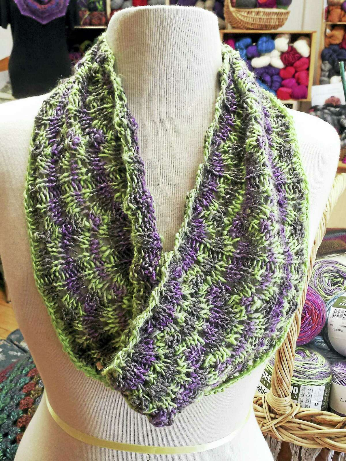 A summer coastal cowl can be made of many of the new yarns now available for the spring and summer seasons.