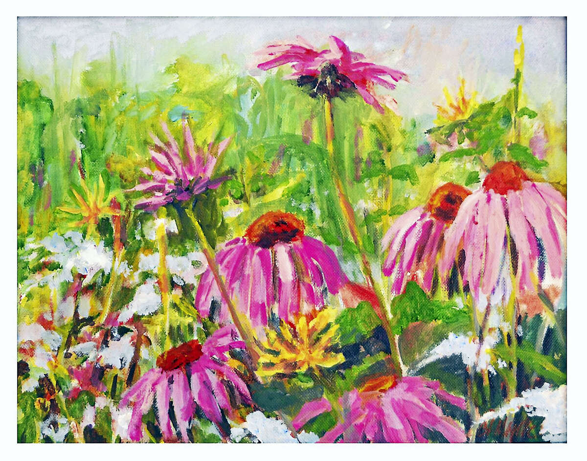 Carol Moore, known for her colorful, energy-charged paintings and pottery, is the featured artist in the Oliver Wolcott Library gallery for the months of May and June.
