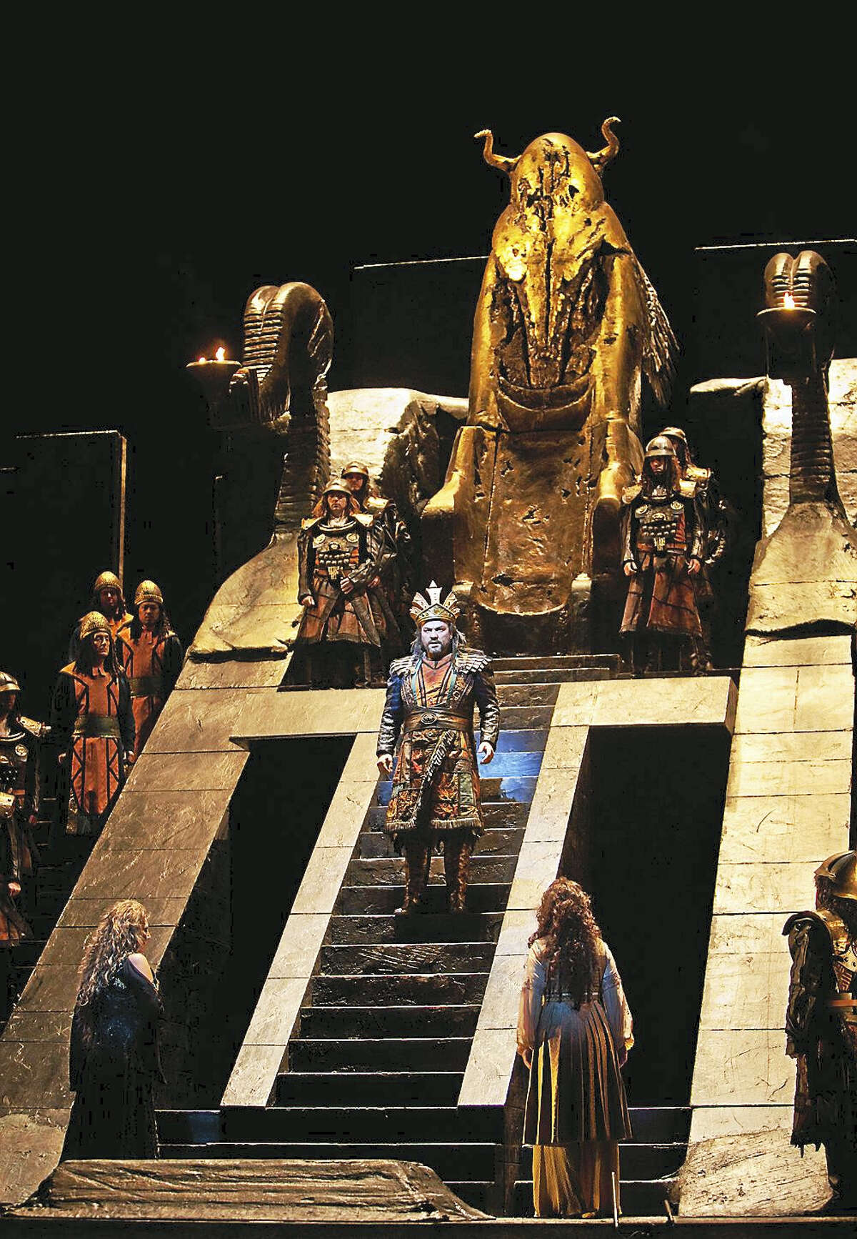 """Marty Sohl/Metropolitan Opera A scene from Verdi's """"Nabucco"""" with Zeljko Lucic in the title role, taken at the Metropolitan Opera during the rehearsal in 2011. The opera will be presented in HD at the Warner Theatre on Saturday, Jan. 7."""