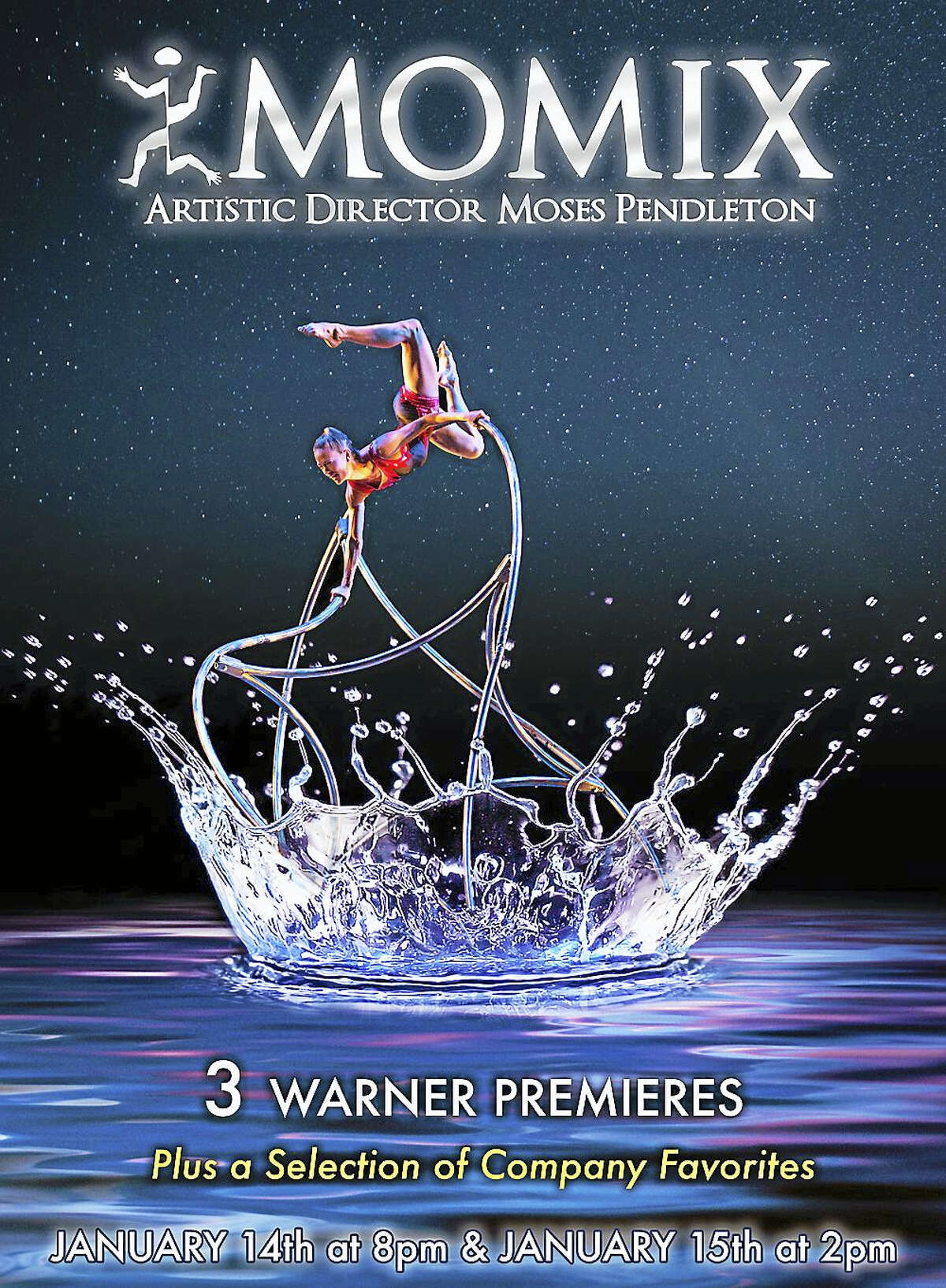 MOMIX Poster Design by Crevisio MOMIX, the Washington-based dance company, is set to perform three premieres at the Warner Theatre on Jan. 14-15.