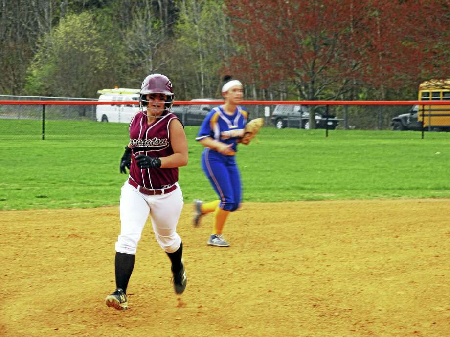 Torrington's Alexis Tyrrell heads for third after a first-inning home run in Torrington softball's loss to Seymour on Monday. Photo: Photo By Peter Wallace