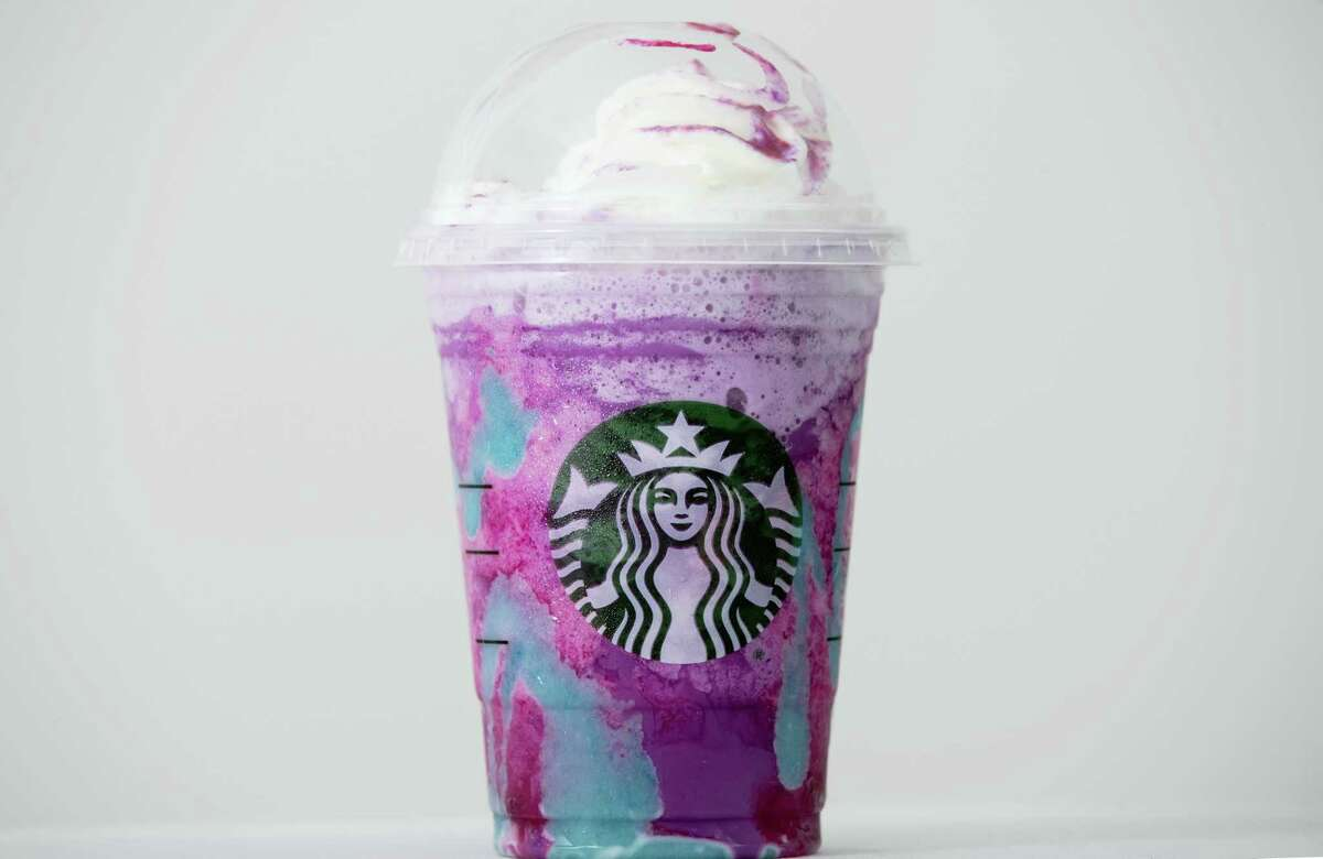 A Starbucks Unicorn Frappuccino drink sits on display Thursday, April 20, 2017 in Philadelphia.