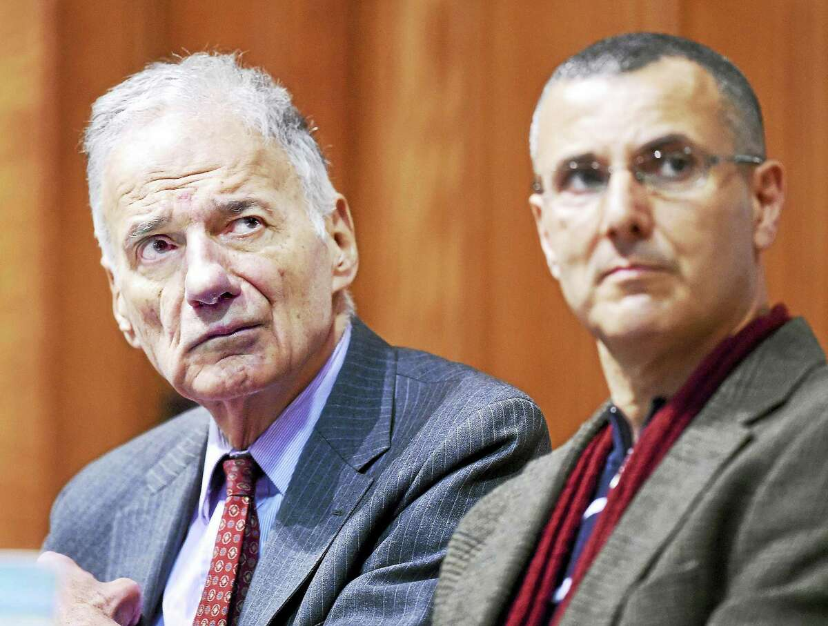 Ralph Nader, left, and Omar Barghouti, co-founder of the BDS, Boycott Divestment and Sanctions, received 2017 Gandhi Peace Awards from the PEP group.