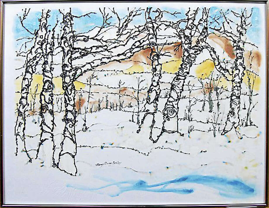 """Winter Birches"" watercolor by Mary Ann Carley of Sharon. Photo: Photos By Michael Spross"