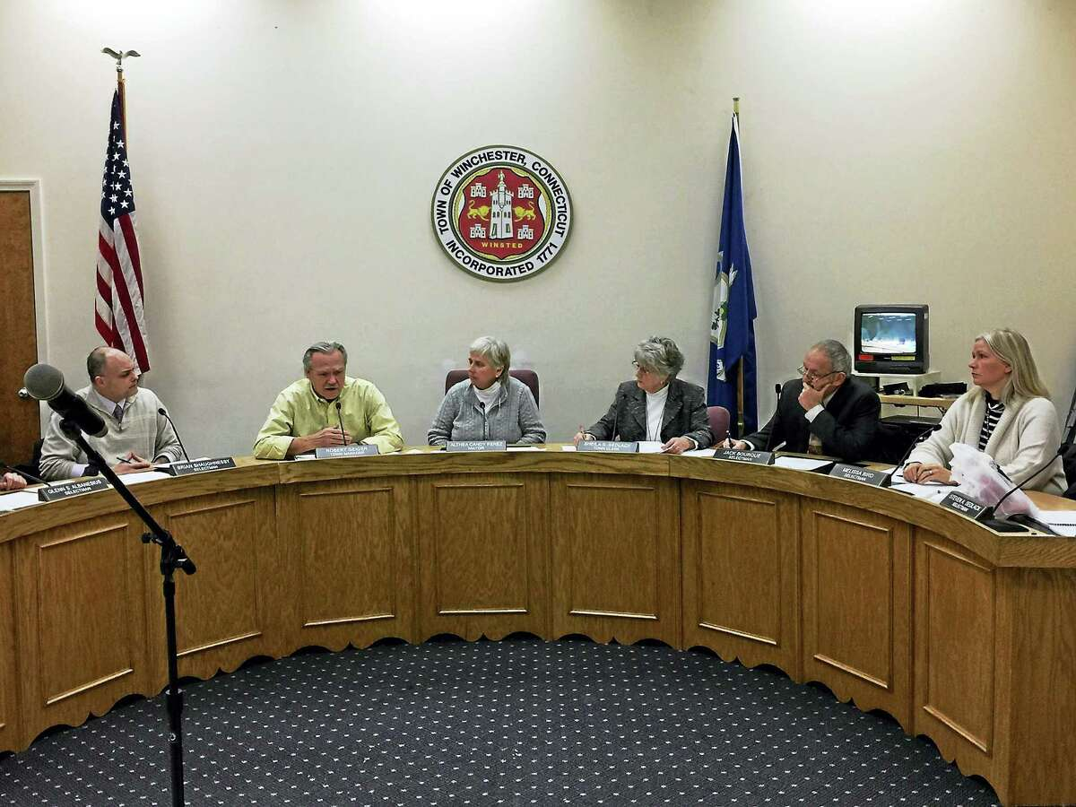 Ben Lambert - The Register CitizenThe Winsted Board of Selectmen considers a reduction in the state funding ascribed to the community Tuesday.