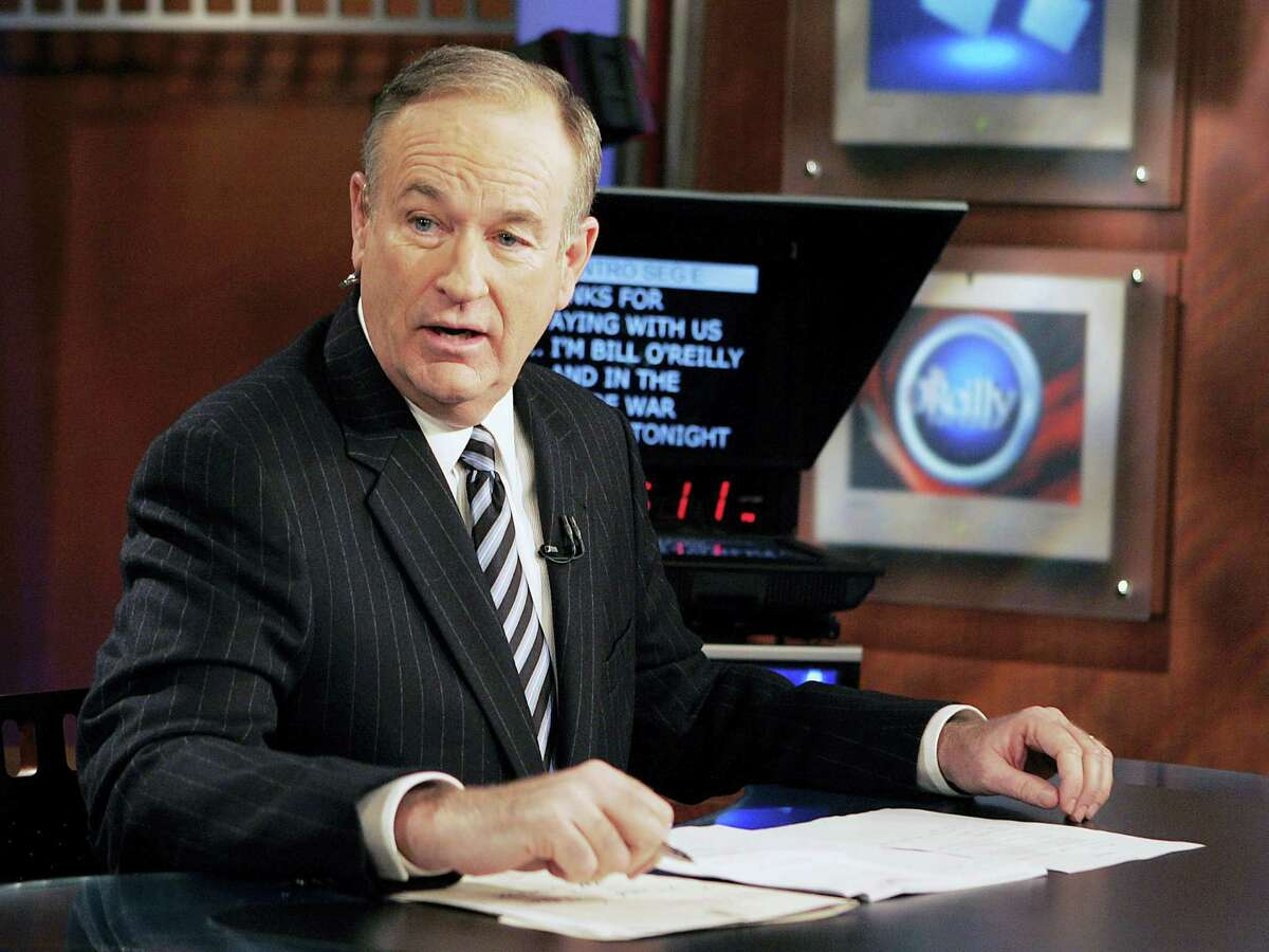 """In this Jan. 18, 2007 photo, Fox News commentator Bill O'Reilly appears on the Fox News show, """"The O'Reilly Factor,"""" in New York. O'Reilly has lost his job at Fox News Channel following reports that several women had been paid millions of dollars to keep quiet about harassment allegations."""