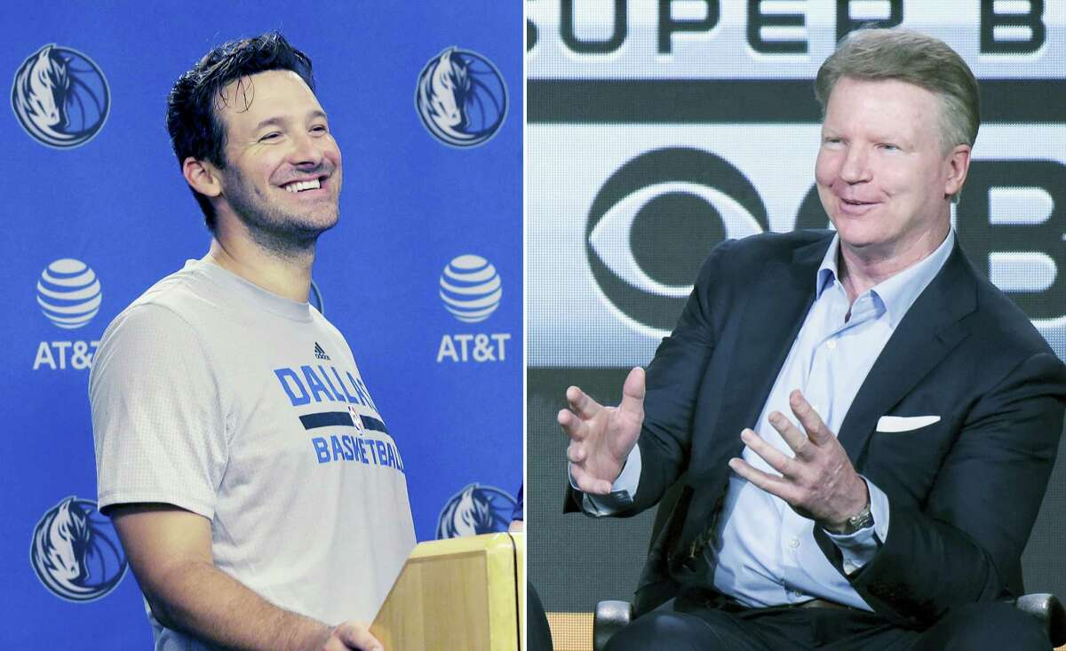 Former Dallas Cowboys quarterback Tony Romo, left, is replacing Phil Simms in the broadcast booth this season.