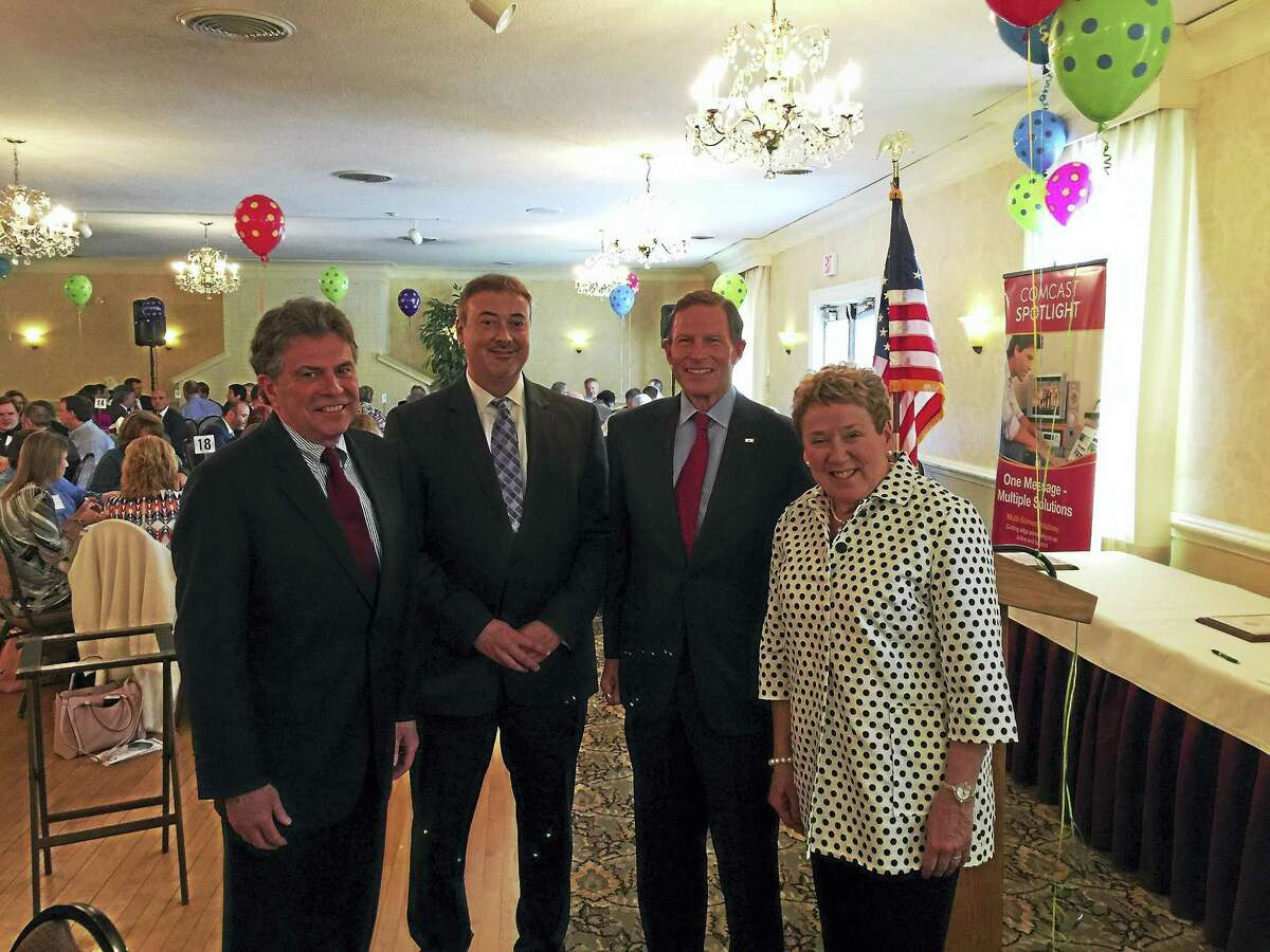 From left, Alan Colavecchio and Lance Leifert, joined by U.S. Sen. Richard Blumenthal and chamber President and CEO JoAnn Ryan, were inducted into the Northwest Connecticut Chamber of Commerce's Hall of Fame.