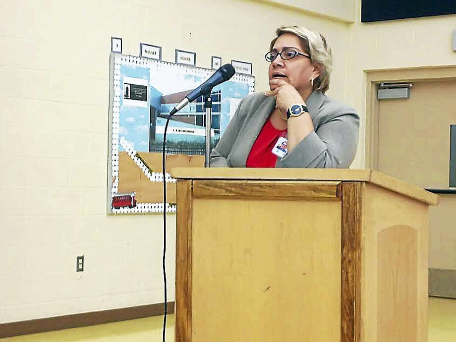 (Brian Zahn - New Haven Register) New Haven Public Schools Director of Instruction Abie Benitez, one of the founders of the Connecticut Association of Latino Administrators and Superintendents, at a Sept. 12, 2016 Board of Education meeting. Photo: Digital First Media