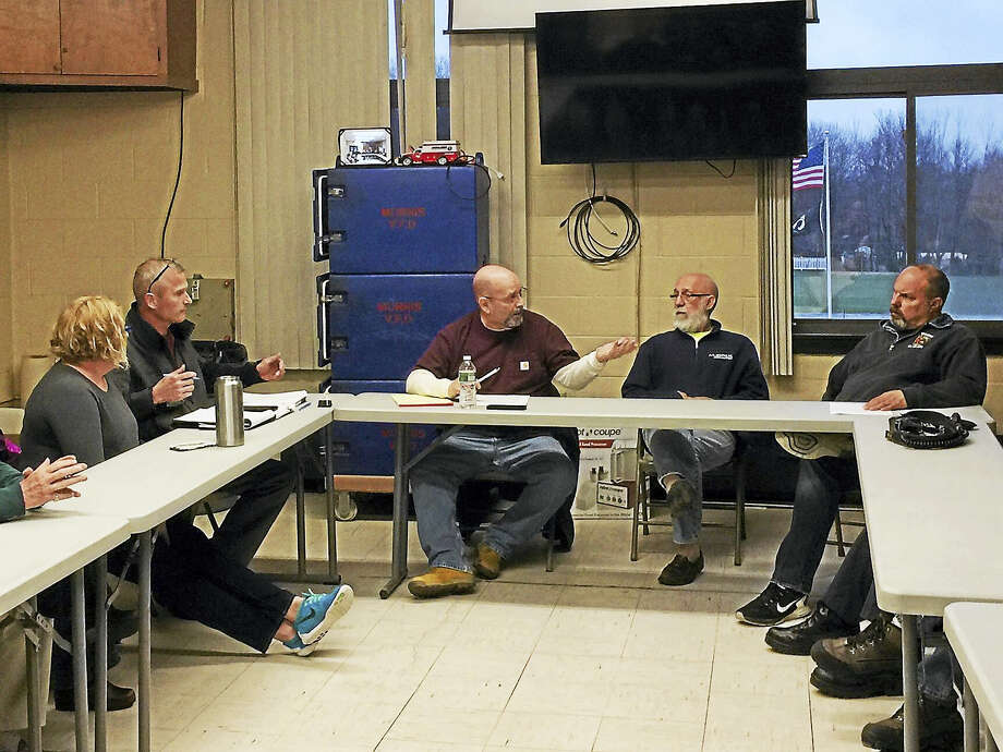The Morris Board of Selectmen, finance board and volunteer fire department met Wednesday evening to discuss the future of ambulance service in the community. Photo: Ben Lambert — The Register Citizen