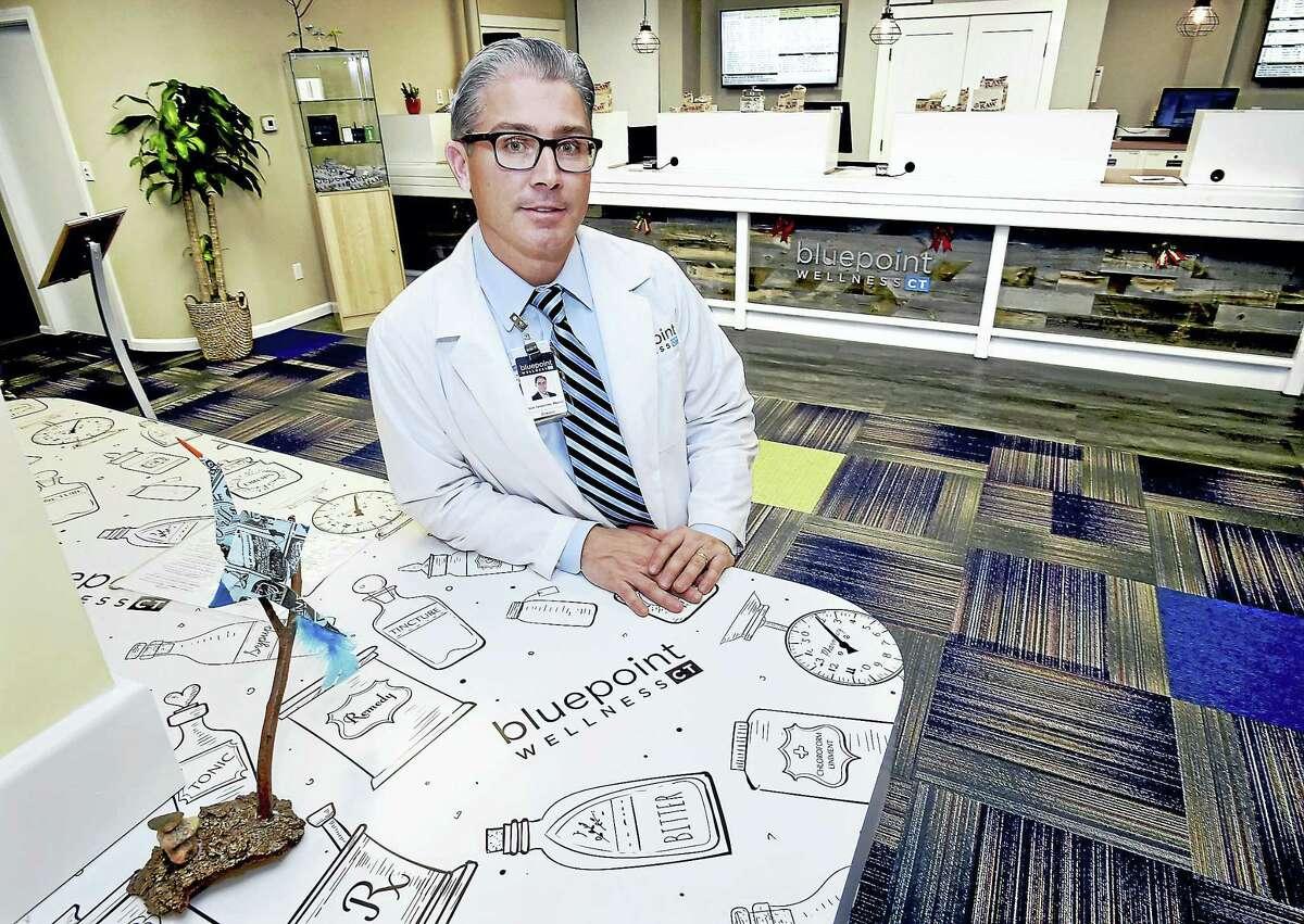 Pharmacist Nicholas Tamborrino, owner of Bluepoint Wellness of Connecticut, one of eight medical marijuana dispensaries in the state.