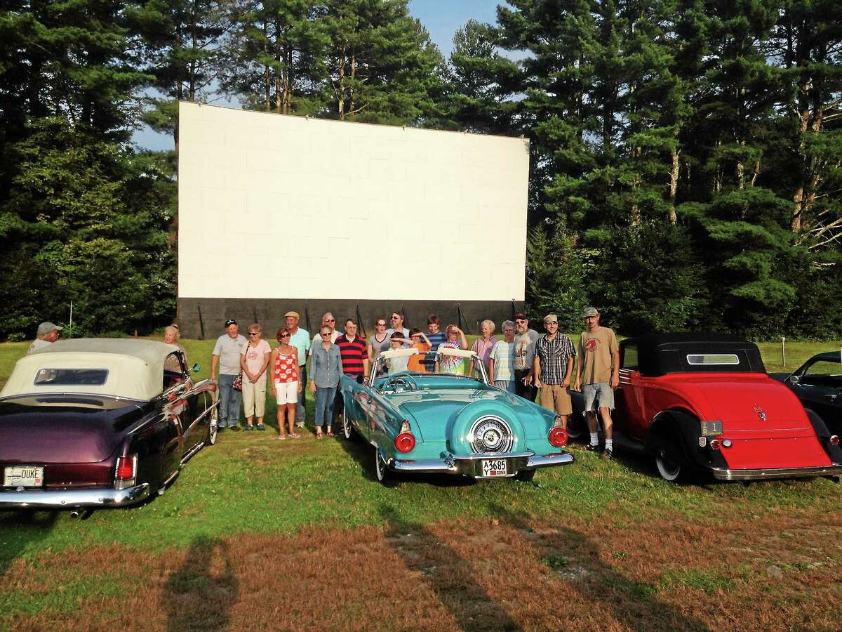 A group of patrons waits for sunset at the Pleasant Valley Drive-in in Barkhamsted.